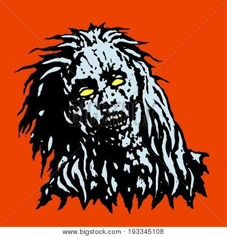 Dreadful head of zombie girl. Horror image. Vector illustration