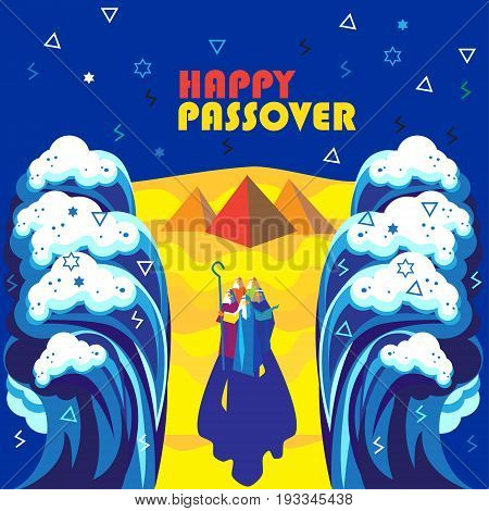 Happy Passover poster. Passover Jewish Holiday decorative poster. Sea waves, sky, Egyptian pyramids. Futuristic Abstract background. Vector illustration