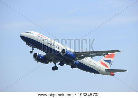 Amsterdam the Netherlands - May 6th 2017: G-EUYB British Airways Airbus A320 takeoff from Polderbaan runway Amsterdam Schiphol Airport