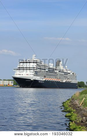 Velsen the Netherlands - May 21st 2017: MS Koningsdam Holland America Line in North Sea Canal.