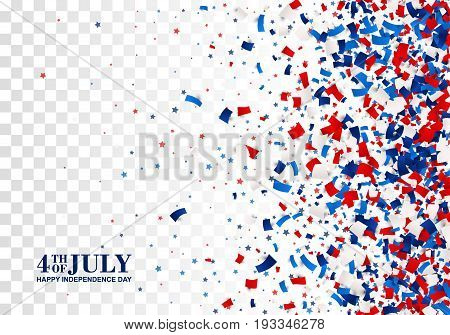 4th of July festive pattern on transparent checkered background. American Happy Independence Day design concept with scatter papers, stars in traditional American colors - red, white, blue. Isolated.