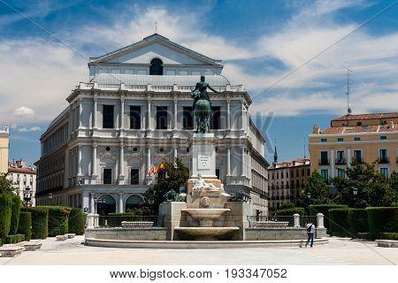 Plaza de Oriente in summer in madrid Spain