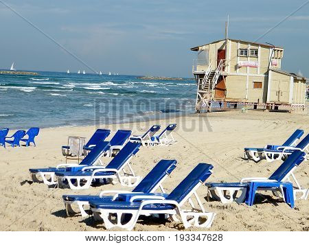 Plage in winter in Tel Aviv Israel