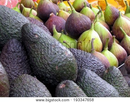 Avocado and figs on bazaar in Tel Aviv Israel
