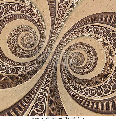 Bronze copper geometrical abstract ornament spiral fractal pattern background. Metal spiral pattern effect background. Concept abstract double spiral symmetrical pattern. Abstract spinning effect