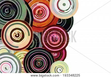 Abstract concentric circle shapes that suggest a bouquet of flowers.