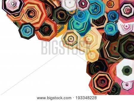 Abstract seven-sided polygon shapes that suggest a bouquet of flowers.