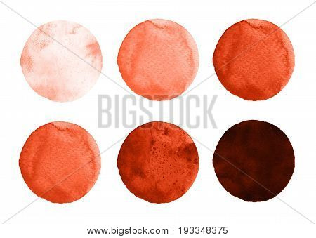 Set of colorful watercolor hand painted circle isolated on white. Watercolor Illustration for artistic design. Round stains blobs of burgundy brown dark red sienna rufous maroon color