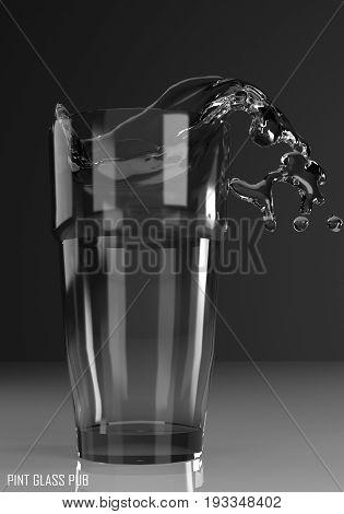 pint glass pub 3D illustration on dark background