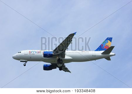 Amsterdam the Netherlands - May 6th 2017: D-ABDB Small Planet Airlines Germany Airbus A320 takeoff from Polderbaan runway Amsterdam Schiphol Airport