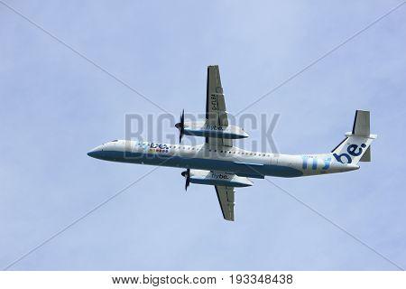 Amsterdam the Netherlands - May 6th 2017: G-FLBA Flybe De Havilland Canada DHC-8-402Q Dash 8 takeoff from Polderbaan runway Amsterdam Schiphol Airport