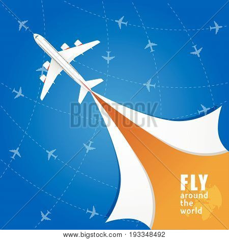 Airplane With Fly Around The World Illustration