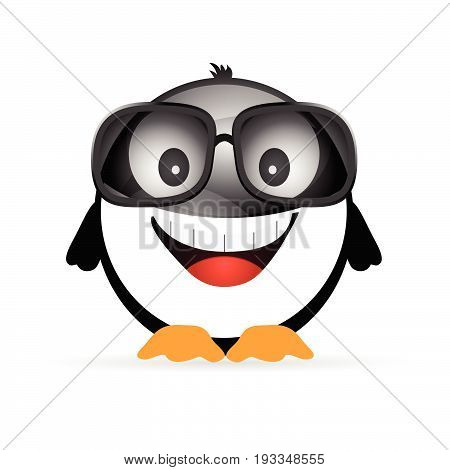 Penguin Funny With  Sunglasses Illustration