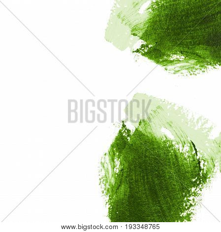Abstract light green acrylic hand paint background. Part of oil painting with brush strokes. Background of detail of green acrylic painting.