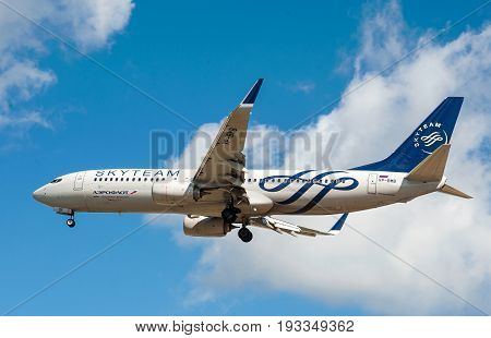 SHEREMETYEVO MOSCOW REGION RUSSIA - June 28 2017: Boeing 737-800 of Aeroflot Airlines in the SkyTeam livery makes a landing at Sheremetyevo International Airport.