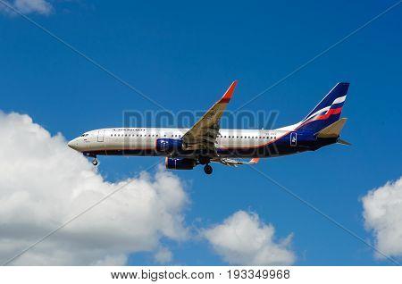 SHEREMETYEVO MOSCOW REGION RUSSIA - June 28 2017: Boeing 737-800 of Aeroflot Airlines makes a landing at Sheremetyevo International Airport.