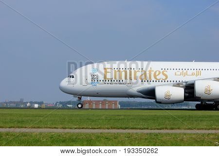 Amsterdam the Netherlands - May 6th 2017: A6-EEX Emirates Airbus A380-800 takeoff from Polderbaan runway Amsterdam Schiphol Airport