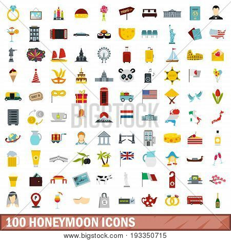 100 honeymoon icons set in flat style for any design vector illustration