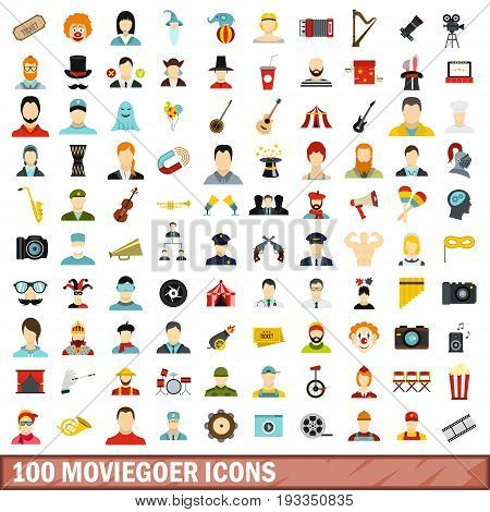 100 moviegoer icons set in flat style for any design vector illustration