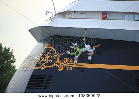 Velsen the Netherlands - June 27th 2017: Disney Magic on North Sea Canal detail of stern