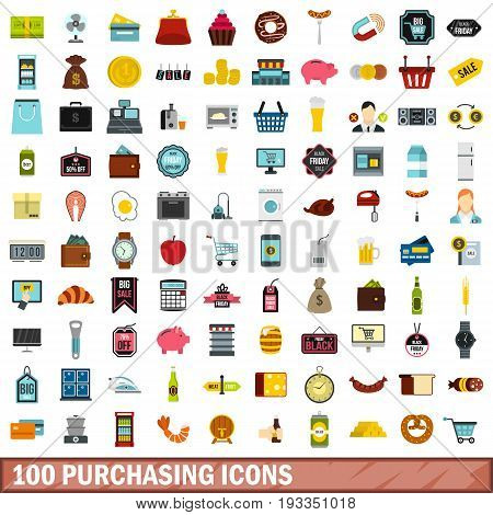 100 purchasing icons set in flat style for any design vector illustration