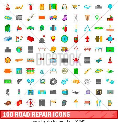 100 road repair icons set in cartoon style for any design illustration