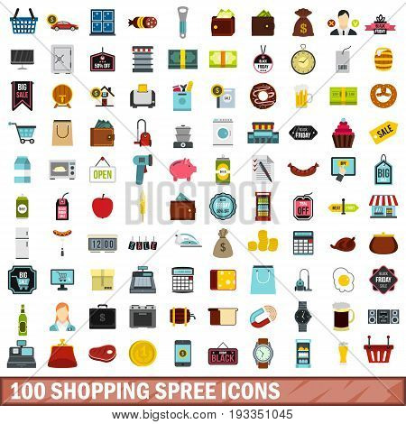 100 shopping spree icons set in flat style for any design vector illustration