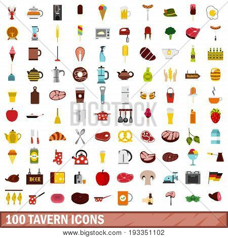 100 tavern icons set in flat style for any design vector illustration
