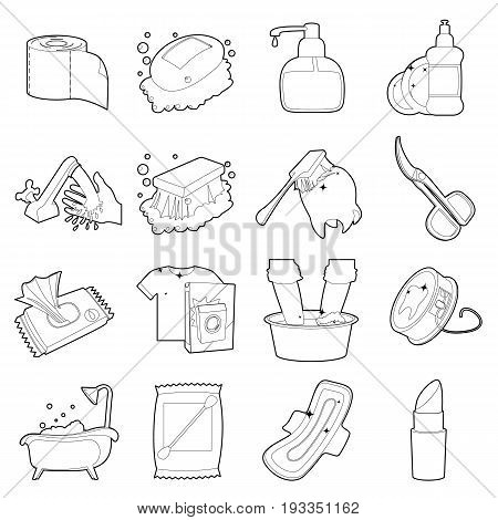 Hygiene cleaning icons set. Outline illustration of 16 hygiene cleaning vector icons for web