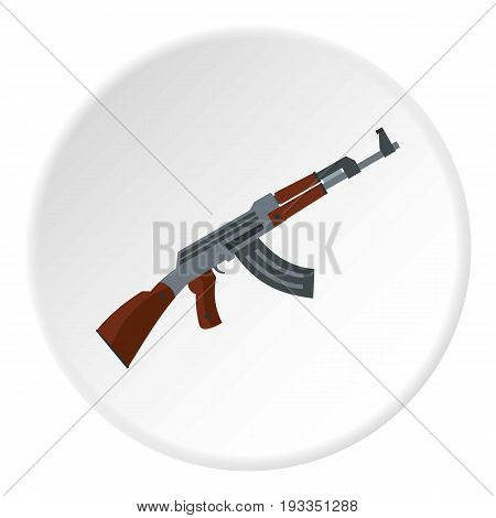 Submachine gun icon in flat circle isolated on white background vector illustration for web