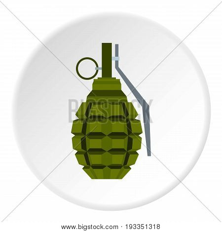 Hand grenade icon in flat circle isolated on white background vector illustration for web