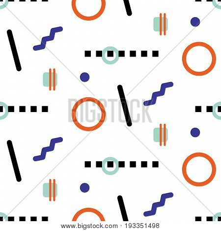 Memphis geometric shapes hipster seamless vector pattern. Blue and orange simple shapes background for website wallpaper and fabric print.