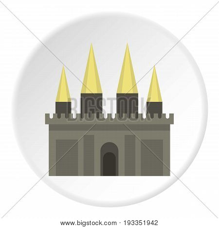 Ancient castle palace icon in flat circle isolated on white background vector illustration for web