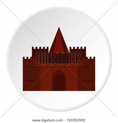 Medieval palace icon in flat circle isolated on white background vector illustration for web
