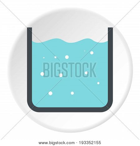 Beaker with pure blue water icon in flat circle isolated on white background vector illustration for web
