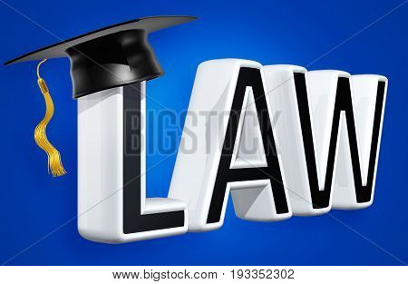 Mortar Board On The Word Law 3D Illustration