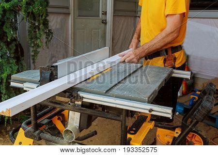 Handyman Cutting Picture Frame Moulding Circular Saw