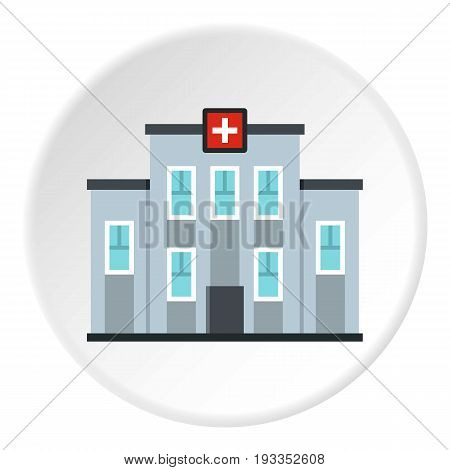Medical center building icon in flat circle isolated on white vector illustration for web