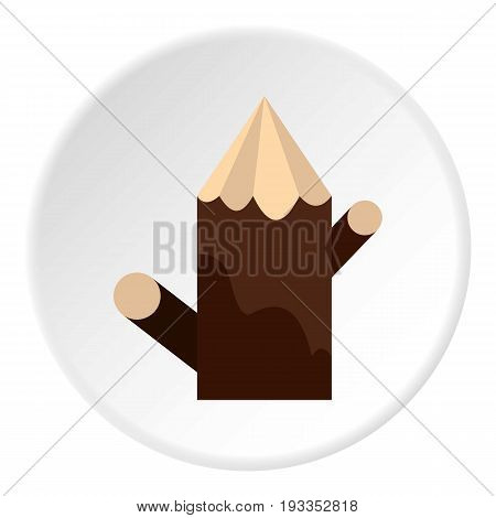Pointed woden stump icon in flat circle isolated on white vector illustration for web