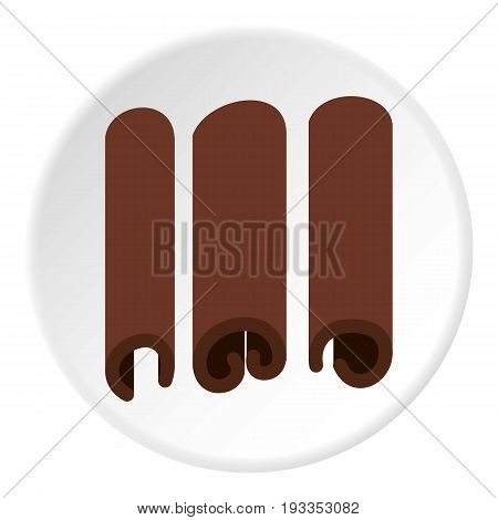 Cinnamon icon in flat circle isolated on white vector illustration for web