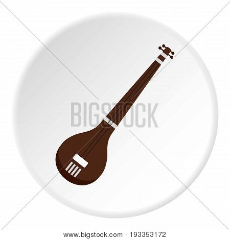 Traditional Indian sarod icon in flat circle isolated on white vector illustration for web