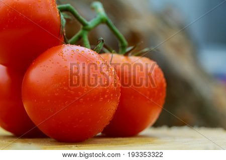 Ripe Tomatoes With Water Drops Close-up, Background Of Vegetables