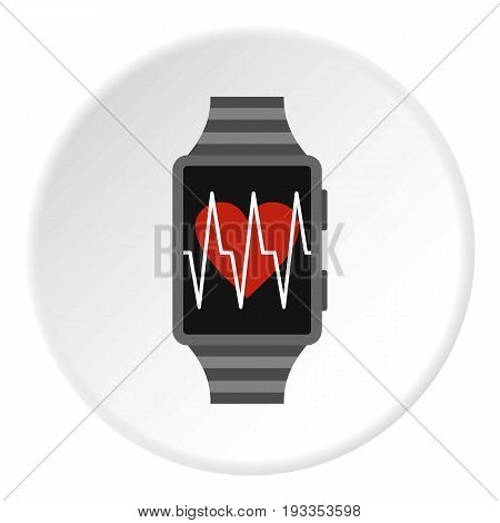 Pedometer icon in flat circle isolated on white vector illustration for web