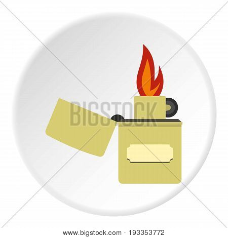 Lighter icon in flat circle isolated on white vector illustration for web