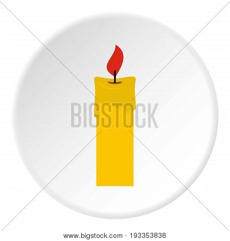 Candle icon in flat circle isolated on white vector illustration for web