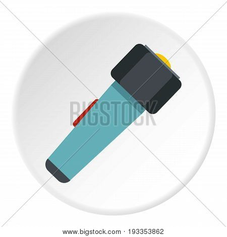 Hand flashlight icon in flat circle isolated on white vector illustration for web