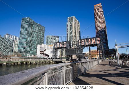 Pier at Gantry Plaza State Park and buildings in Long Island city, New York