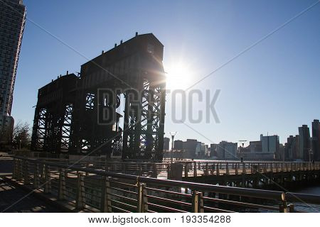 iconic gantries of Gantry State Park with the sun