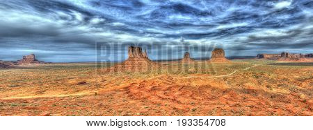 Panoramic clouds over  Monument Valley Utah USA