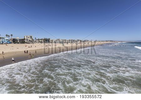Los Angeles, California, USA - June 26, 2017:  Summer afternoon view of popular Venice Beach.